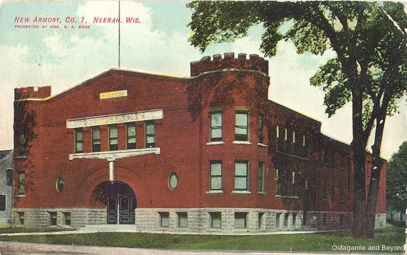 ca. 1908 ~ New Armory, Co. I, Neenah, Wis. Presented by Hon. S. A. Cook