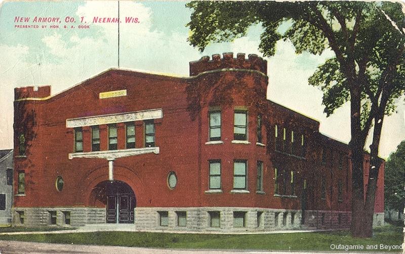 ca. 1908 ~ New Armory, Co. I, Neenah, Wis.