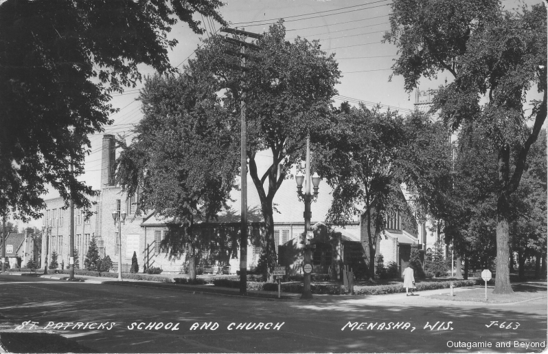 ca. 1946 ~ St. Patrick's School and Church, Neenah, Wis