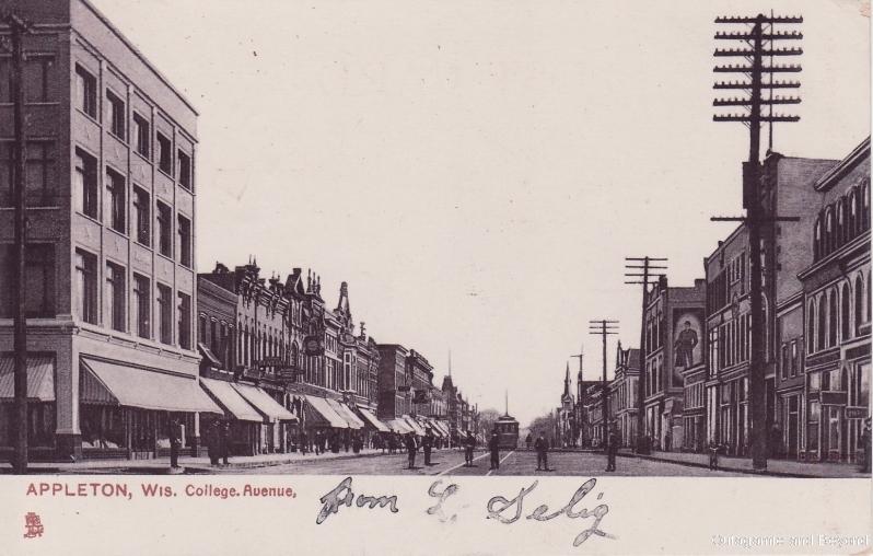 ca. 1908 ~ Appleton, Wis. College Avenue