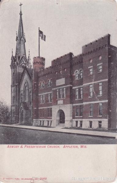ca. 1910 ~ Armory & Presbyterian Church, Appleton, Wis.