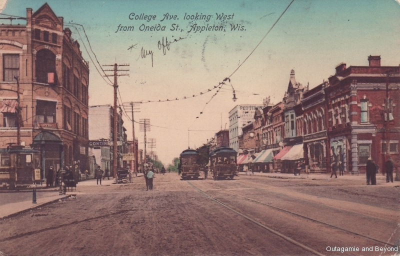 ca. 1910 ~ College Ave. looking West from Oneida St., Appleton, Wis.