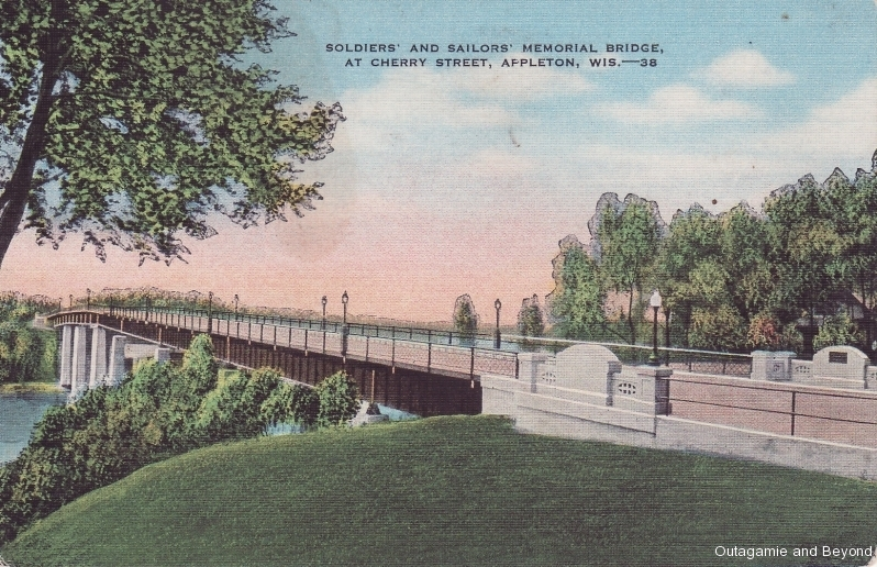 ca. 1941 ~ Soldiers' and Sailors' Memorial Bridge, at Cherry Street, Appleton, Wis. --38